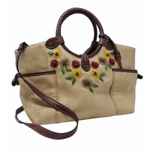 Fossil wicker leather floral embroidered bag